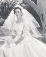 Gwendolyn (Garland) Babcock wore her grandmother's pearls at her wedding