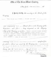 Deed to Miller lot in Greenwood Cemetery